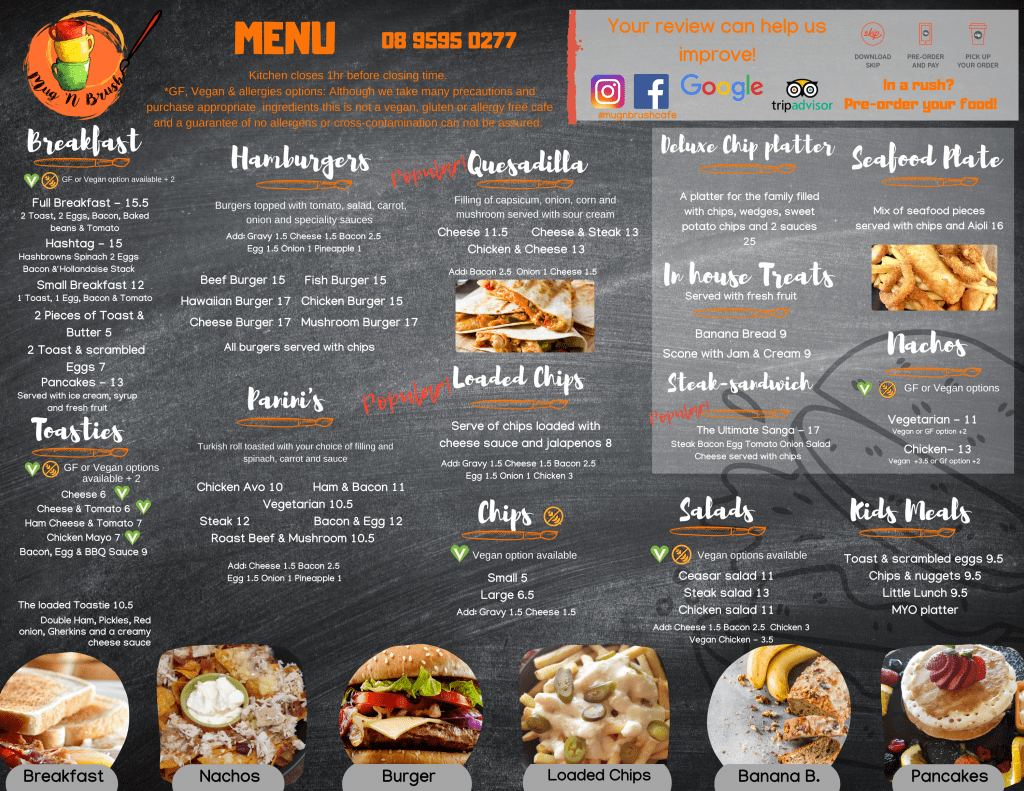 Food cafe menu rockingham breakfast best burgers